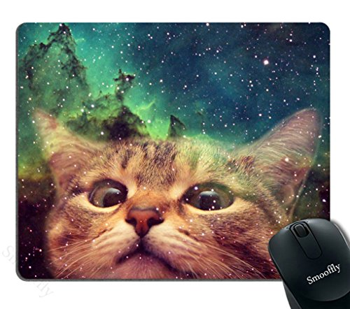 Smooffly Gaming Mouse Pad Custom,Funny Cat in Galaxy Space Mouse pad 9.5 X 7.9 Inch (240mmX200mmX3mm)