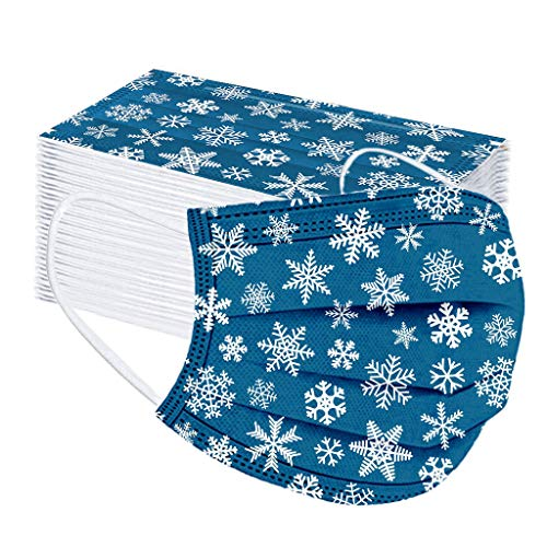 50 PCS Disposable Christmas Face_Covering, Unisex Adult Snowflake Theme Prints 3-ply Breathable Dustproof Covers Comfortable with Elastic Earloops, High Filtration and Ventilation Security (H)