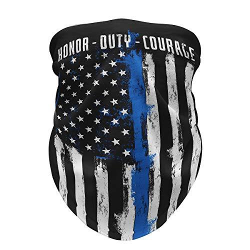 Thin Blue Line Face Mask American Flag Neck Gaiter Men Women Pull Up Bandana