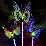 Sooreally Garden Solar Lights Outdoor, 3 Pack Solar Stake Multi Color Changing LED Lights, Fiber Optic Solar Butterfly Decorative Lights (Butterfly)