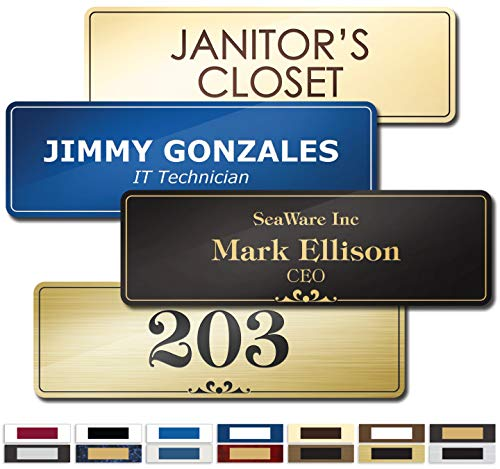 "Name Plate for Door, Office, Wall, Customized and Personalized, Laser Engraved, 2-1/2"" x 8"", 18 Color Options, Laser Engraved, Classic Collection, USA Made by MY SIGN CENTER"