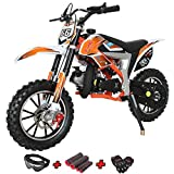 X-PRO Bolt 50cc Dirt Bike Gas Dirt Bike Kids Dirt Bikes Pit Bikes Youth Dirt Pitbike 50cc Mini Dirt Bike with Gloves, Goggle and Handgrip,Orange