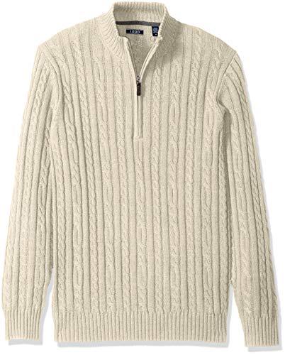 IZOD Men's Premium Essentials Solid Quarter Zip 7 Gauge Cable Knit Sweater, New Rock Heather, Small