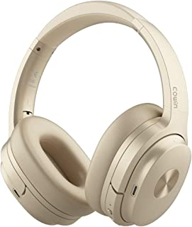 COWIN SE7 Active Noise Cancelling Headphones Bluetooth Headphones Wireless Headphones Over Ear with Microphone, Comfortable Protein Earpads, 30 Hours Playtime for Travel/Work, Gold
