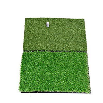 Sky Dual-Turf Golf Hitting Grass Mat, Portable Training Fairway Rough Turf, Driving Chipping Golf Equipment, Home Backyard Garage Outdoor Practice, 25'' X 16''