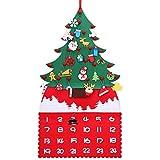 Morfone Árbol de Navidad de Fieltro,árbol de Fieltro Calendario DIY de 91cm con 21 Piezas de Adornos Colgantes, árbol de Navidad Falso Familiar para niños