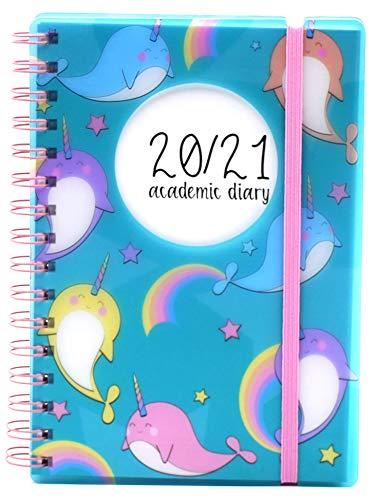 Schülerkalender, A5, 2020–2021, Tagesseite, flexibler Einband, für Schüler A5 Einhornwal