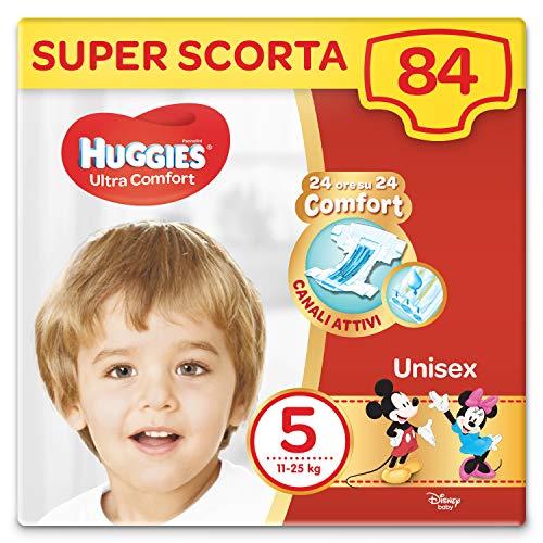 Huggies Huggies Pannolini Ultra Comfort, Taglia 5 (11-25 Kg), Confezione Da 84 Pannolini - 3090 g