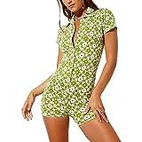 Women Vintage Print Biker Short Bodycon Jumpsuit Short Sleeve Button Down V Neck One Piece Streetwear (#1Green Floral, Small)