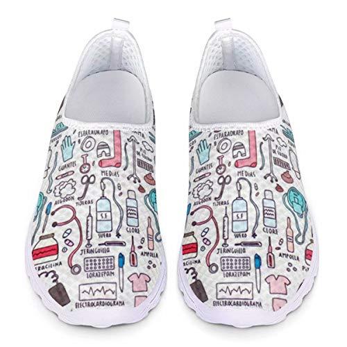 Chaqlin Cute Nurse Sneakers Zapatillas de Malla para Correr Ligeras Mujer Zapatos Planos para Mujer Zapatillas de Agua de Playa para Viajes Zapatillas de Deporte Ligeras para Mujer 41 EU