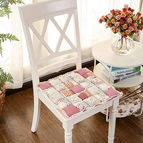 JinXi Vintage Country Lace Bread Hard PP Cotton Filling Chair Pads Cushion Strawberry 2 Piece Set