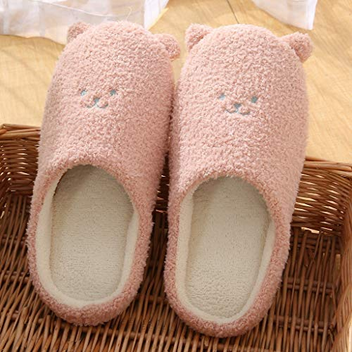 TEELONG Cute Slippers for Women's Girls, Ladies House Slippers Slip-On Anti-Skid Bear Indoor Casual Shoes 2019 New Winter Cartoon Slippers Solid Color Comfortable Flat Flip with Ear Pink