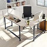 Home Office L-Shape Corner Desk Computer Gaming Table, Wood & Steel Study Office Desk Workstation