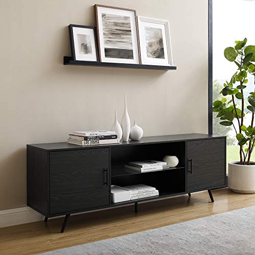 Walker Edison Furniture Company Willington Modern Glass Shelf Stand for TVs up to 80 Inches, 70 Inch, Graphite