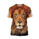 Lion T-Shirts Boys Animal Shirts 3D Novelty Short-Sleeve Tee Tops for Teen Kids 7-14 Years