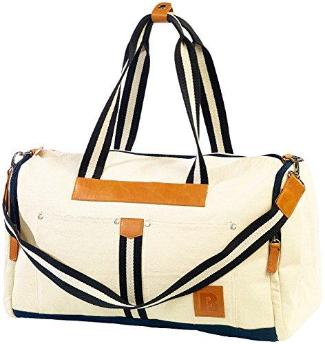 Carlo Milano Badetasche: Canvas-Strandtasche/Freizeittasche, weiß (Badetasche für Badetuch)
