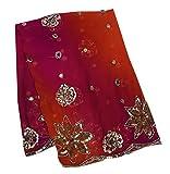 Peegli Frauen Vintage Traditioneller Schal Bestickt Magenta
