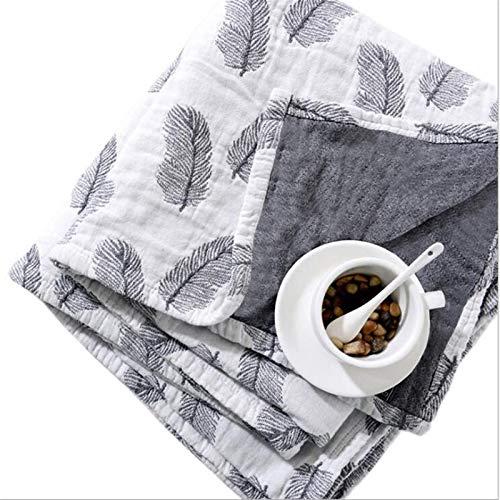 Yanchuan Manta Cubierta de Gasa de algodón, Cuadros Suaves para Adultos y niños en la Cama, sofá, avión, Aire Acondicionado (Couleur : White Leather, Taille : 200cmx230cm)
