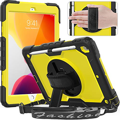 Timecity Tablet Case for iPad 10.2, New iPad 7th Generation Case with Screen Protector Pencil Holder, 360°Rotatable Stand Adjustable Hand Strap Shoulder Strap Three Layer Protection Case, Yellow