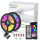 LED Strip Lights 15M Music Sync Color Changing RGB LED Strip 44-Key Remote, Sensitive Built-in Mic, App Controlled LED Lights, 5050 RGB LED Light Strip(APP+Remote+Mic+3 Button Switch)