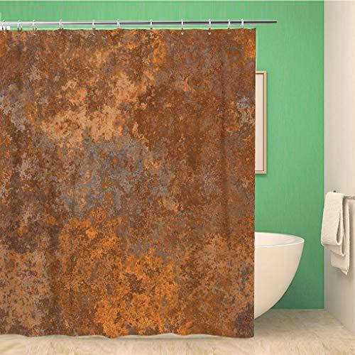 Awowee Decor Duschvorhang, braunes Kupfer, altrostenes Metall, rustikal, abstrakt, Antik-Optik, 180 x 180 cm, Polyester, wasserfest, mit Haken für das Badezimmer