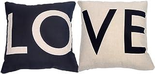 Dosige 2PCS Funda de Almohada Love en Blanco y Negro,Cojines de Oficina con Fundas de Almohada,para sofá Cama Sala de Estar Dormitorio decoración del hogar cuadradas Size 44 * 44cm (White+Black)
