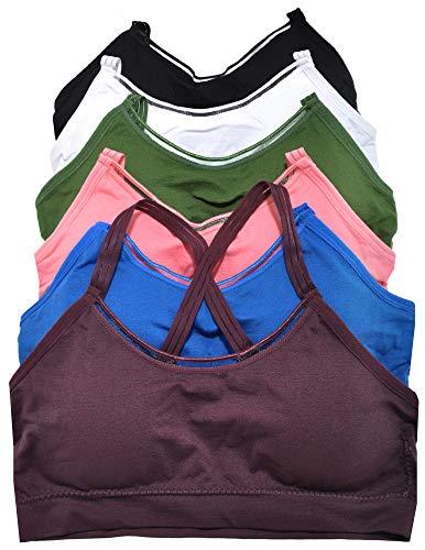 ToBeInStyle Women's 6 Pack Solid Elastic Trim Crossback Bralette - S/M