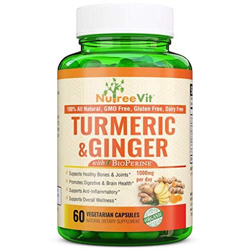NutreeVit 100% Organic Turmeric Curcumin with BioPerine & Ginger 95% Curcuminoids 1950mg - Black Pepper for Absorption, Made in USA, Natural Immune Support, Turmeric & Ginger Supplement (90 Count)