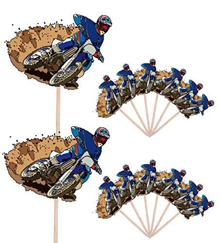AK Giftshop Moto Dirt Track Bike – Compleanno – Manifestazioni – Cibo – Torta Cupcakes – Pietre Decorazioni Stand Up Bandiere Alimentari (Confezione da 14)
