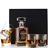 Personalized 5 pc Whiskey Decanter Set - Limited Edition Custom Liquor Decanter - 26 oz, 750ml w/ 4pcs Whiskey Glass Set, Housewarming Gifts, Boss Gifts, Retirement Gifts, Square #3