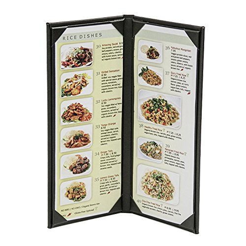 "10-Pack 4-1/4"" x 11""Classy"" Double Panel Pocket Menu Cover Leatherette"