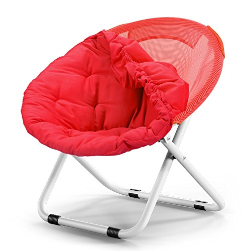 MKJYDM Silla De La Luna Adulta Silla De Sol Lazy Chair Silla Reclinable Plegable Silla Redonda Sofa Chair Silla Plegable (Color : Rose Red)