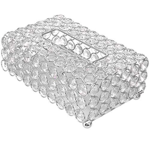 EXCEART Kristall-Tücherbox-Abdeckung, rechteckig, dekorativ, Toilettenpapier-Box, Serviettenhalter, Gesichtstücher-Behälter für Badezimmer, Kommode, Nachttisch (Silber)