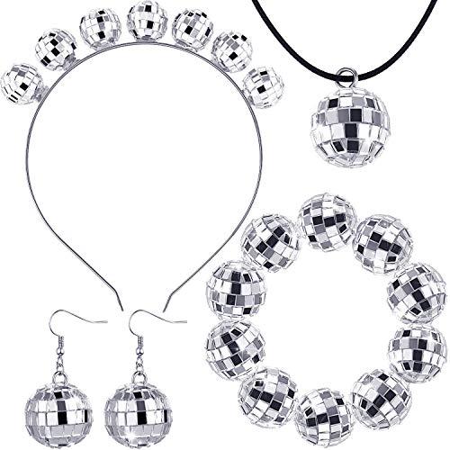 Hicarer 70s Disco Costume Disco Ball Earrings Disco Ball Necklace Disco Ball Bracelet Disco Ball Headband for Women