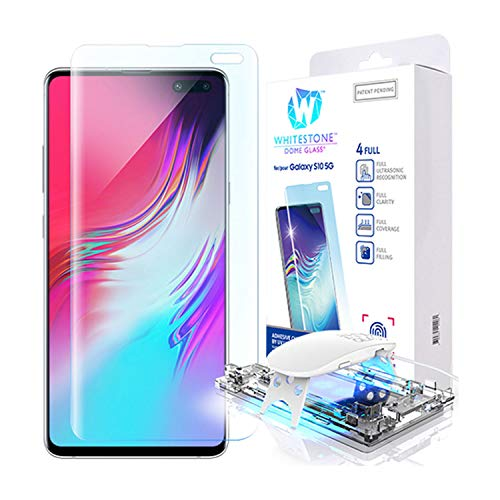 Galaxy S10 5G Screen Protector, [Dome Glass] Full 3D Curved Edge Tempered Glass [Exclusive Solution for Ultrasonic Fingerprint] Easy Install Kit by Whitestone for Samsung Galaxy S10 5G (2019) - 1 Pack