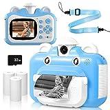 Cámara Digital para Niños, Cámara Infantil 2.4' Pantalla HD Camara Instantánea para Niños con Tarjeta TF de 32GB Impresión en Blanco y Negro