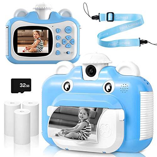 EXTSUD Kinder Kamera, Print Kamera für Kinder 1080P 2,4 Zoll Videokamera Sofortbildkamera Schwarzweiß-Fotokamera Kinderkamera mit 32 GB Speicherkarte & 3 Rollen Druckpapier Geschenk für Kinder