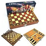 PUTAOYOU 3 en 1 Conjunto de ajedrez Juego de Mesa de ajedrez...