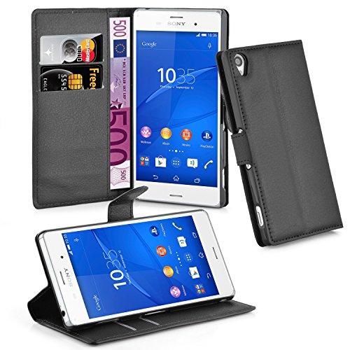 Cadorabo Hülle für Sony Xperia Z3 - Hülle in Phantom SCHWARZ – Handyhülle mit Kartenfach und Standfunktion - Case Cover Schutzhülle Etui Tasche Book Klapp Style