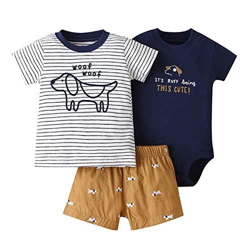 Bebé Ropa Mamelucos + Camiseta + Pantalón 3Pcs Trajes, Peleles Manga Corta Algodón Monos Recién Nacido Regalo Verano Niños Niñas 3-6 meses