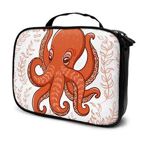 Lustige orange Octopus algen kreisförmige zusammensetzung Reise faul Kosmetiktasche Gym kulturbeutel für Frauen mädchen Make-up Tasche multifunktions gedruckt Beutel für Frauen