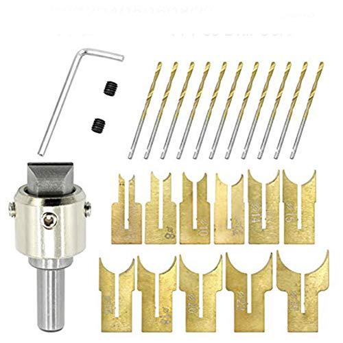 Lamf Holzperlen-Bohrer, 6 - 25 mm, Hartmetall-Kugelklinge, Fräser-Set, 24 Stück, zementiertes Hartmetall, kugelförmige Buddha-Perlen, Holzbearbeitungswerkzeug-Set