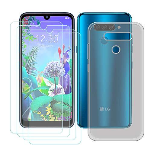 YZKJ Capa para LG K12 Max + 4 películas protetoras de tela de vidro temperado – Capa de proteção de silicone de TPU (poliuretano termoplástico) flexível e macia para LG K12 Max (6,2 polegadas)