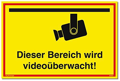 Schild Videoüberwachung | Dieser Bereich Wird videoüberwacht! | stabiles Alu Schild mit UV-Schutz 30 x 20 cm | gelb | Kameraüberwacht videoüberwacht | Dreifke®