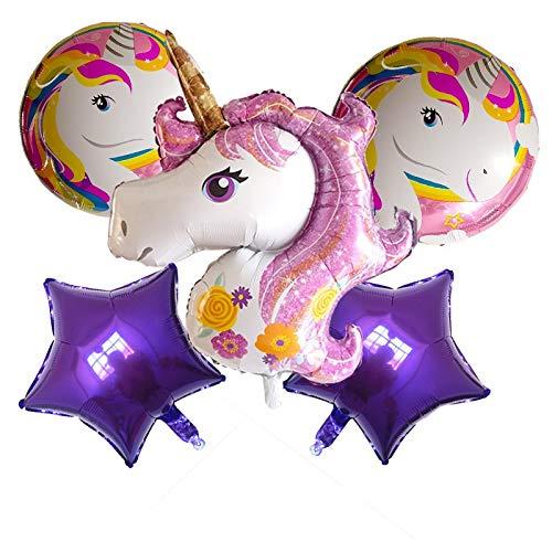 ZWYCEX Globos Ampliación de Rosa púrpura Iridiscente Unicornio de 18 Pulgadas Globo de cumpleaños del Globo Paquete transfronteriza Venta de Amazon ( Size : 8 )