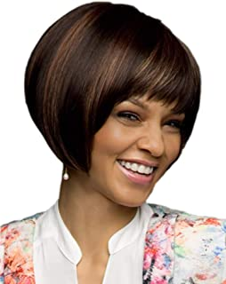 Straight Short Angled Glossy Brunette Daily Bob Wig with Straight Point-cut Bangs and Highlights for Women & Girls