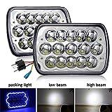 CO LIGHT Pair 7x6 5x7inchs LED Headlights Amber Yellow Halo Angel Eyes Sealed Beam Hi/Lo H6054 H5054 H6014 69822 6052 6053 for XJ YJ Cherokee E250