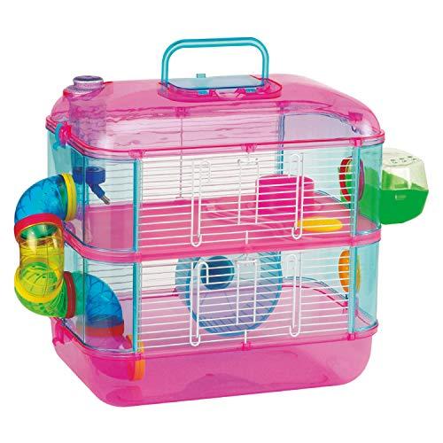 Arquivet Jaula roedores pequeños Tenerife - Casa para Hamsters, Ratoncillos, Animales pequeños - Plástico Resistente - Dos Pisos para Jugar - 40 x 26 x 40 cm