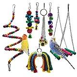 Meiso Lot de 7 jouets à mâcher pour oiseaux avec perchoirs, balles et cloches