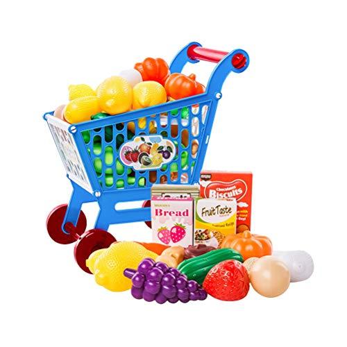 Toyvian 17 Unids Los niños carro de compras juguete simular alimentos frutas vegetales juego educativo aprendizaje juguete cocina jugar comida para niños